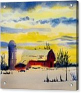 Red Barn Sunrise Acrylic Print
