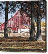 Red Barn Through The Trees Acrylic Print