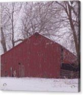 Red Barn Trees Snow Acrylic Print