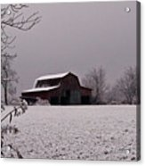 Red Barn Under Snow Acrylic Print