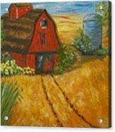 Red Barn- Wheat Field- Down Home Acrylic Print
