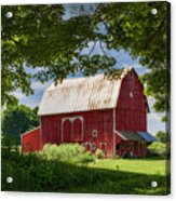 Red Barn With White Arched Door Trim Acrylic Print