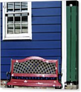 Red Bench Blue House Acrylic Print