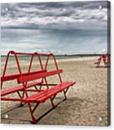 Red Bench On A Beach Acrylic Print
