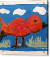 Red Bird In Grass Acrylic Print