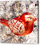 Red Bird White Tree Acrylic Print