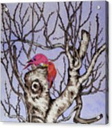 Red Birds On A Withered Tree Acrylic Print