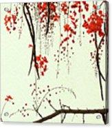 Red Blossom Tree On Handmade Paper Acrylic Print
