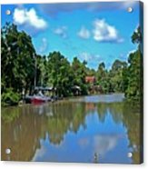 Red Boat And The Magnolia River Acrylic Print