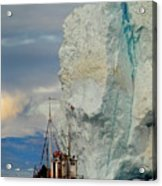 Red Boat Blue Ice Acrylic Print