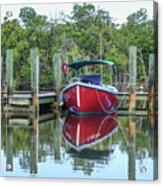 Red Boat Docked Florida Acrylic Print