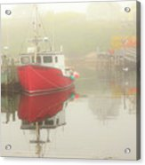 Red Boat In The Fog Acrylic Print