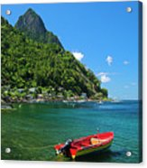 Red Boat- St Lucia Acrylic Print