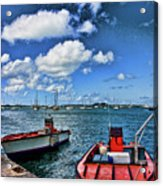 Red Boats At Blue Pier Acrylic Print