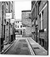 red brick buildings in narrow back turner street Northern quarter Manchester uk Acrylic Print
