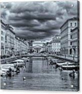 Red Bridge Canal Acrylic Print