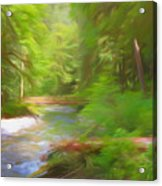 Red Bridge In Green Forest Acrylic Print