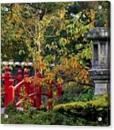 Red Bridge & Japanese Lantern, Autumn Acrylic Print by The Irish Image Collection