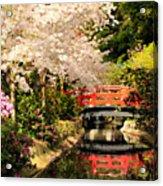 Red Bridge Reflection Acrylic Print