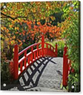 Red Bridge With Shadows Acrylic Print
