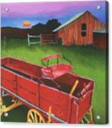 Red Buckboard Wagon Acrylic Print