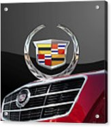 Red Cadillac C T S - Front Grill Ornament And 3d Badge On Black Acrylic Print by Serge Averbukh