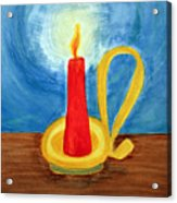 Red Candle Lighting Up The Dark Blue Night. Acrylic Print