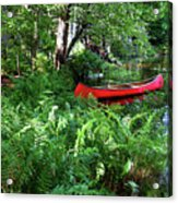 Red Canoe In The Adk Acrylic Print