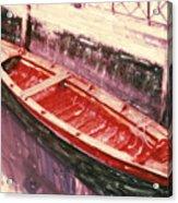 Red Canoe Acrylic Print by Linda Scharck