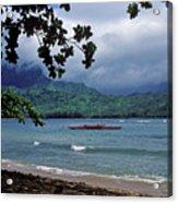 Red Canoe On Hanalei Bay Acrylic Print by Kathy Yates