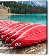 Red Canoes Of Emerald Lake Acrylic Print