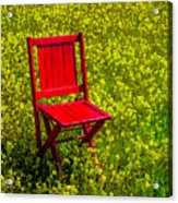 Red Chair Amoung Wildflowers Acrylic Print