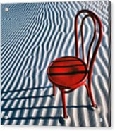 Red Chair In Sand Acrylic Print