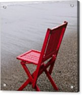 Red Chair On The Beach Acrylic Print
