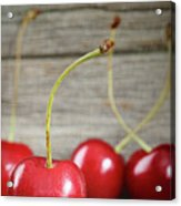 Red Cherries On Barn Wood Acrylic Print