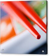 Red Chopsticks Acrylic Print
