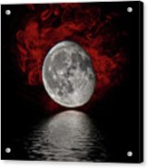 Red Cloud With Moon Over Water Acrylic Print