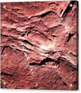 Red Colored Limestone With Grooves Acrylic Print