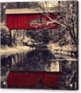 Red Covered Bridge In Winter Acrylic Print