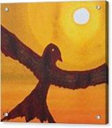 Red Crow Repulsing The Monkey Original Painting Acrylic Print