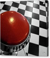 Red Cushion Stool Above Chequered Floor Acrylic Print by Peter Young
