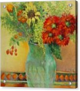 Red Daisies In Green Glass                                 Copyrighted Acrylic Print
