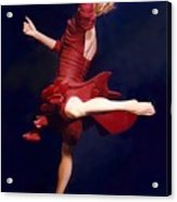 Red Dancer Back View Acrylic Print