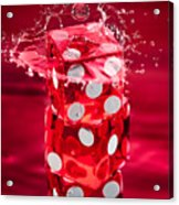 Red Dice Splash Acrylic Print