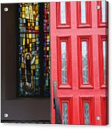 Red Door At Church In Front Of Stained Glass Acrylic Print
