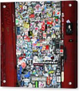Red Doorway With Stickers Acrylic Print