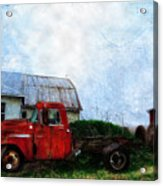 Red Farm Truck Acrylic Print