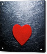 Red Felt Heart On Stainless Steel Background. Acrylic Print