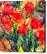 Red Floral Abstract Acrylic Print
