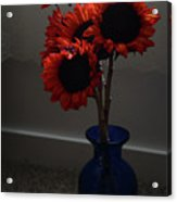 Red Flower Blue Vase Acrylic Print